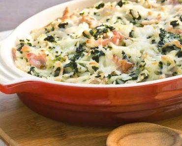 Arroz de forno com presunto cozido, espinafre e mussarela