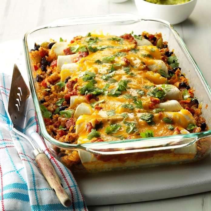 Enchiladas de Arroz e Feijão Preto