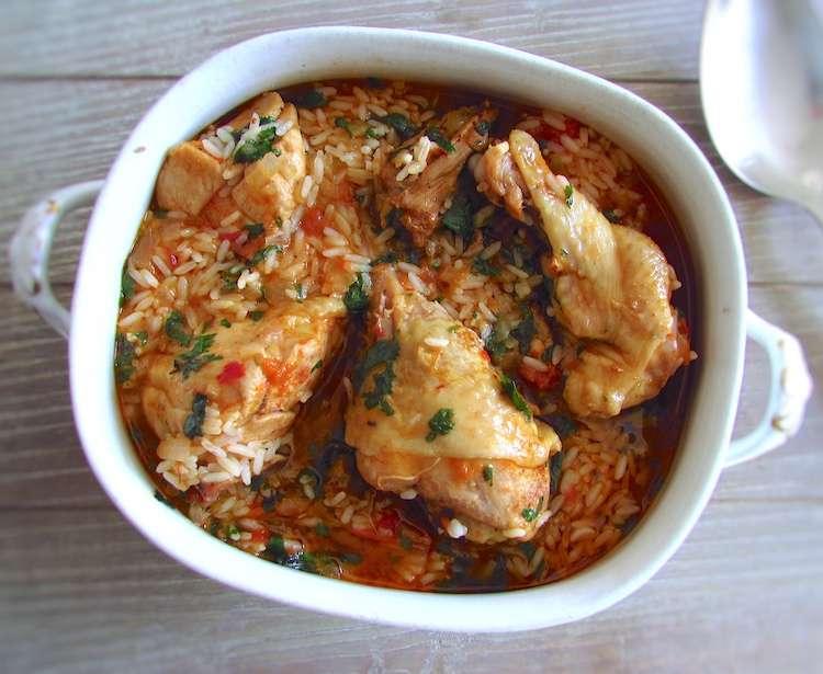 Receita de Frango guisado com arroz