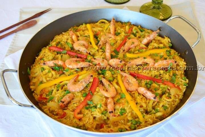 Receita de Paella de frutos do mar (Pequeno)