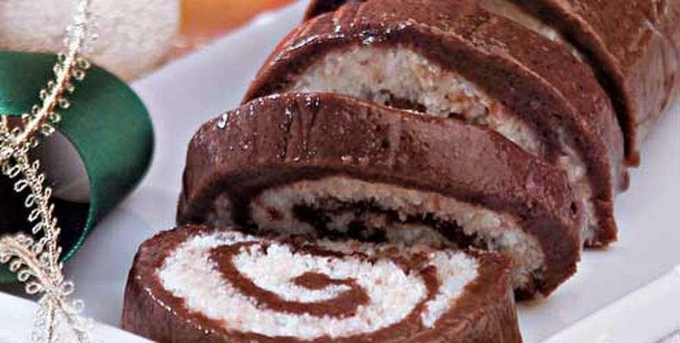 Receita de Rocambole de Chocolate de Natal