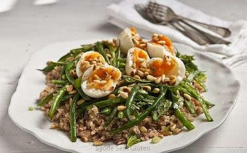 Receita de Salada de Arroz Integral com Atum e Vagem