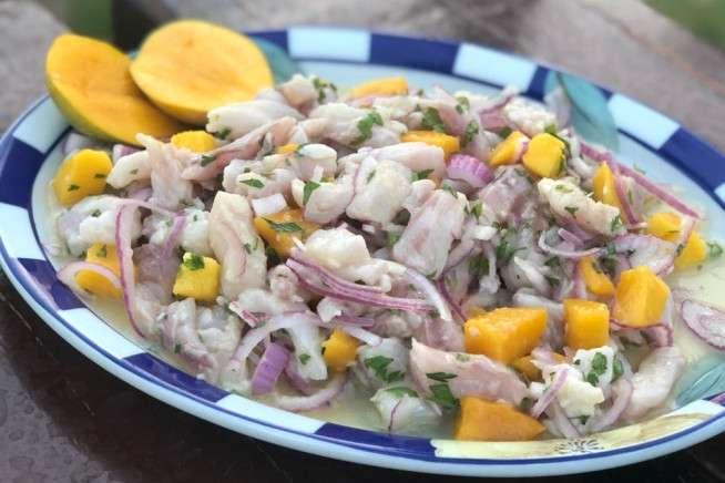Receita de Ceviche de peixe branco com manga
