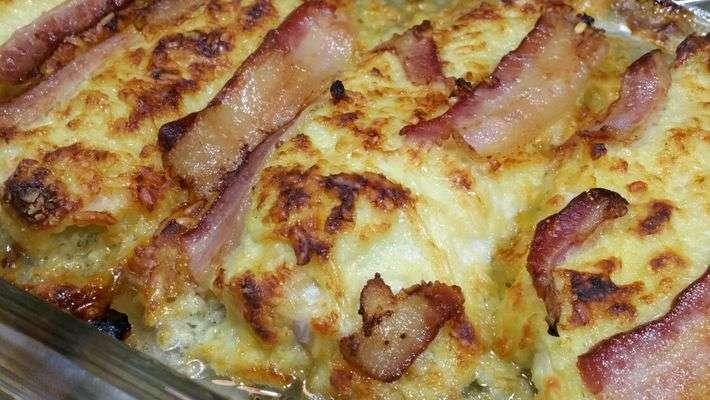 Receita de Filé de frango com bacon e queijo parmesão