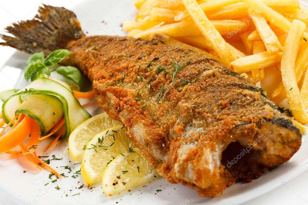 Receita de Peixe frito com legumes