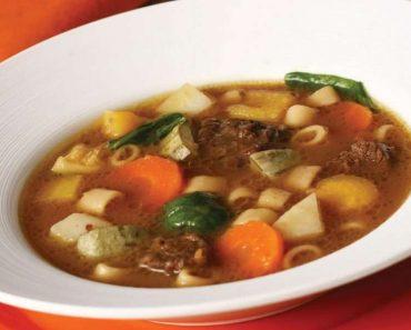 Receita de Sopa de carne moída e legumes