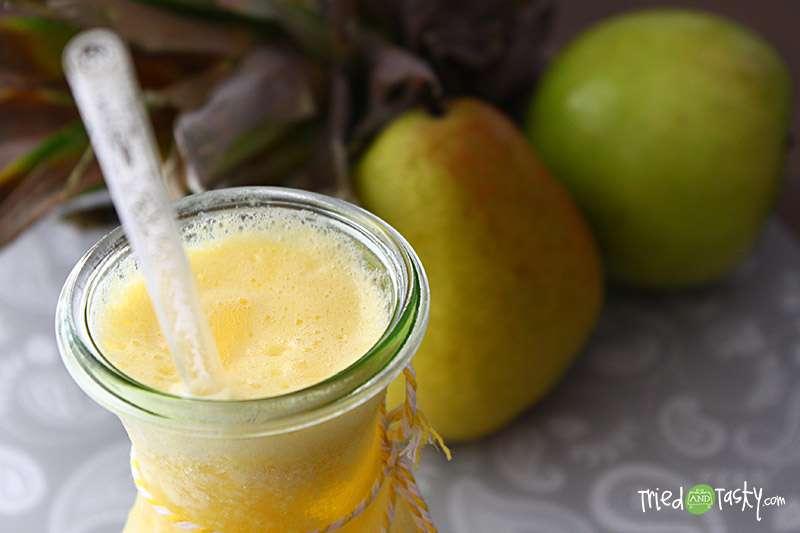 Receita de Suco de abacaxi, caqui e pera