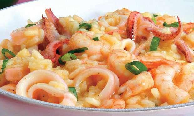 Receita de Risoto de frutos do mar com maracujá