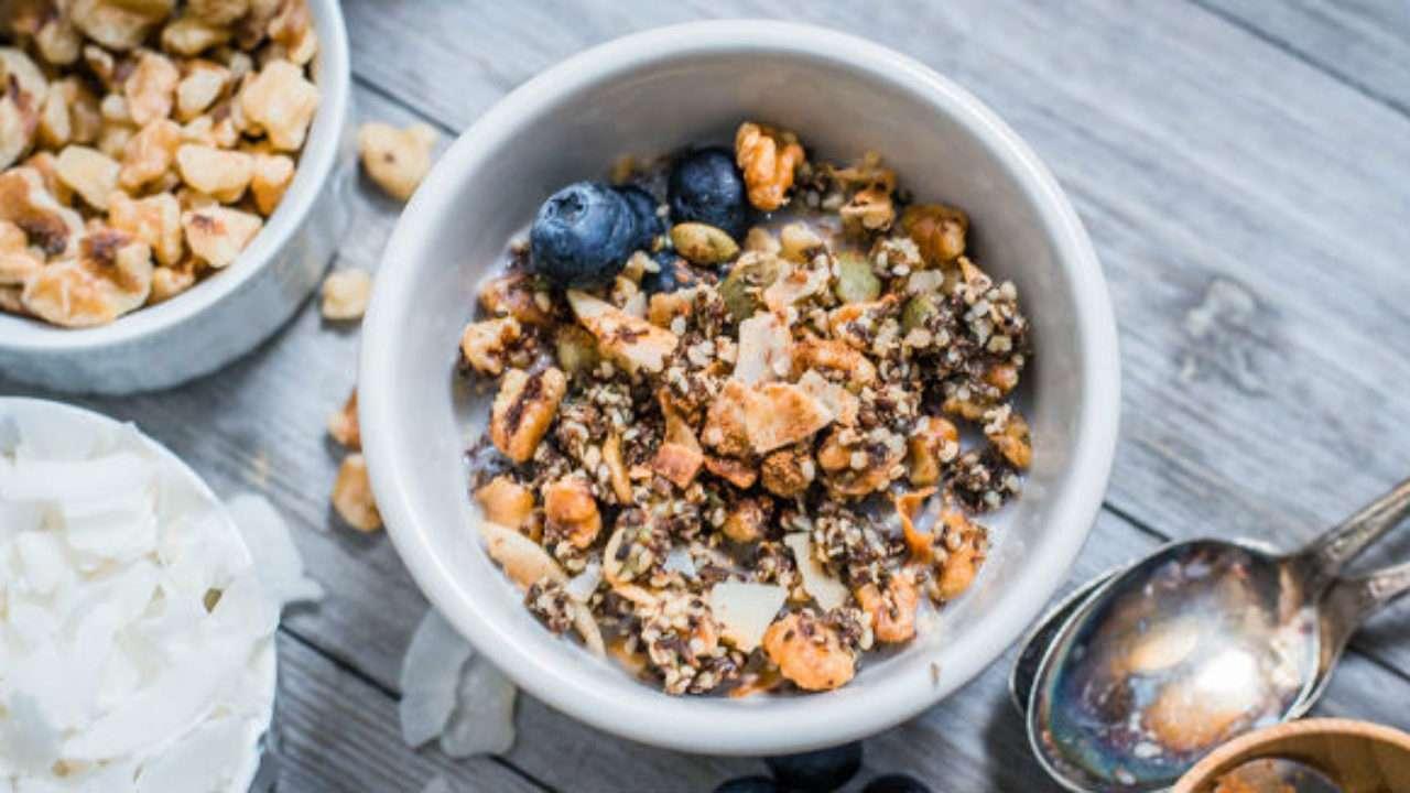 Receita de Granola low carb Pequeno Almoço