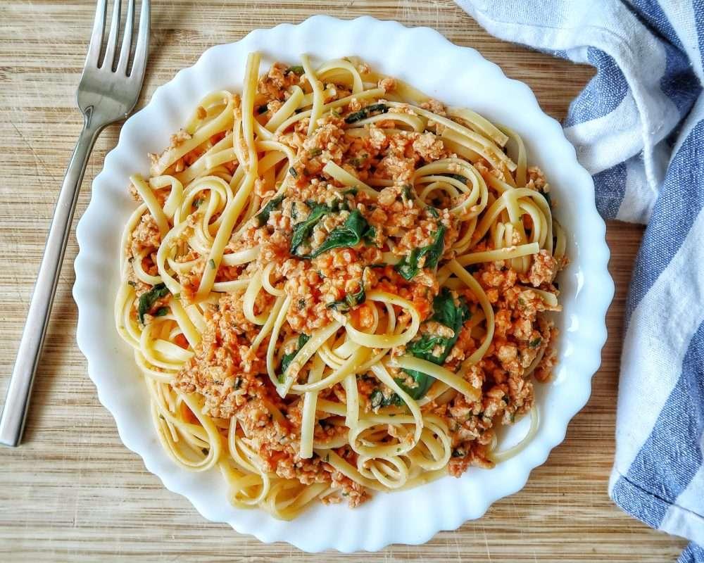 Receita de esparguete à bolonhesa com Proteínas de Soja