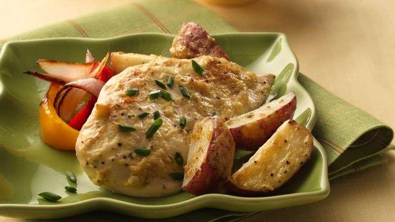 Receita de Frango assado com batatas e maionese