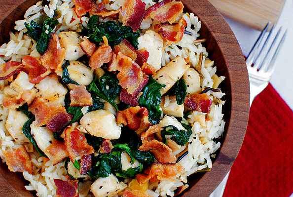 Receita de Arroz com Bacon no Forno com Frango e Castanha