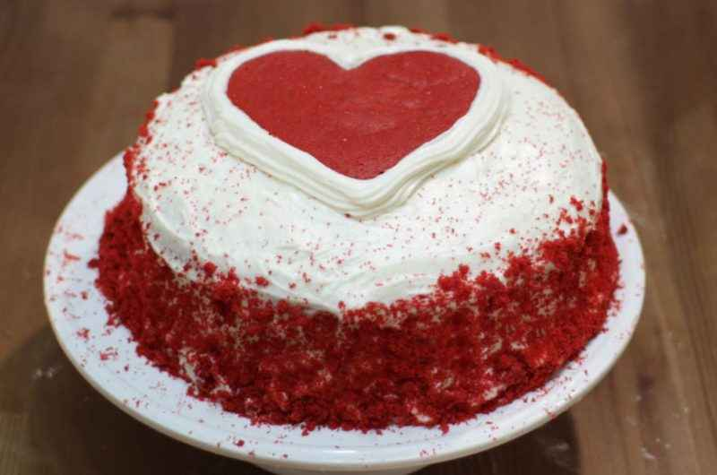 Receita de Bolo Red velvet coração