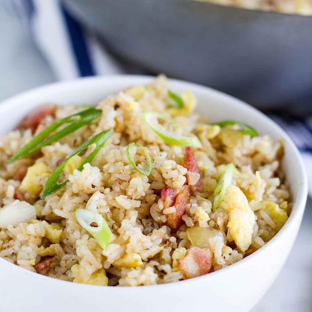 Receita de Receita de arroz com bacon e Milho