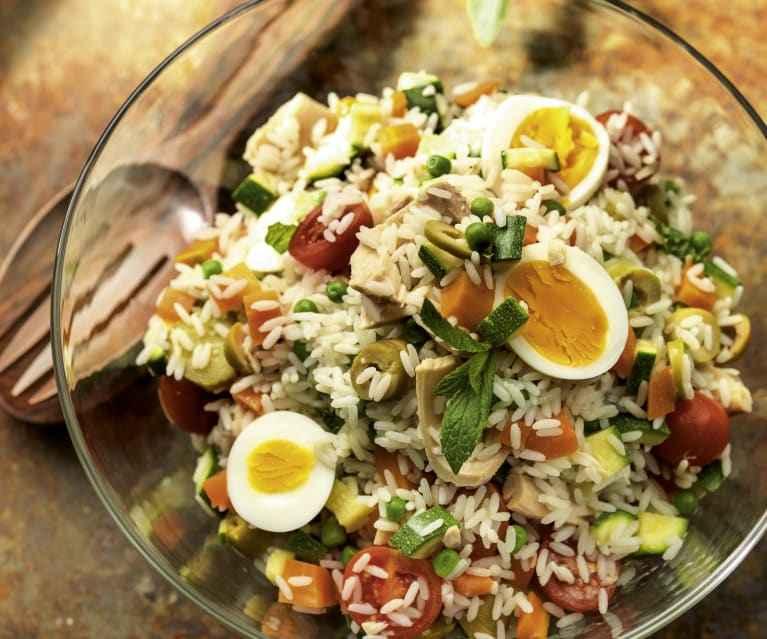 Jantar rápido e saudável de Arroz e Camarão