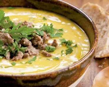 Receita de Sopa de Mandioquinha com Carne Moída
