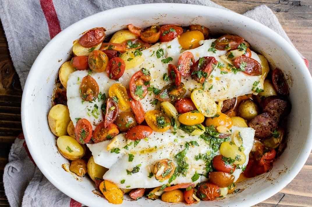 Receita de Bacalhau com batatas douradas no Forno