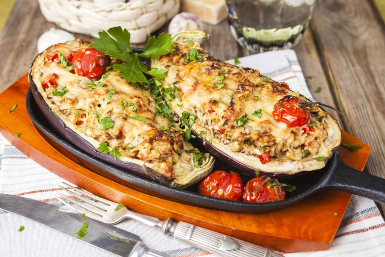 Receita de berinjela recheada com carne moída Italiana