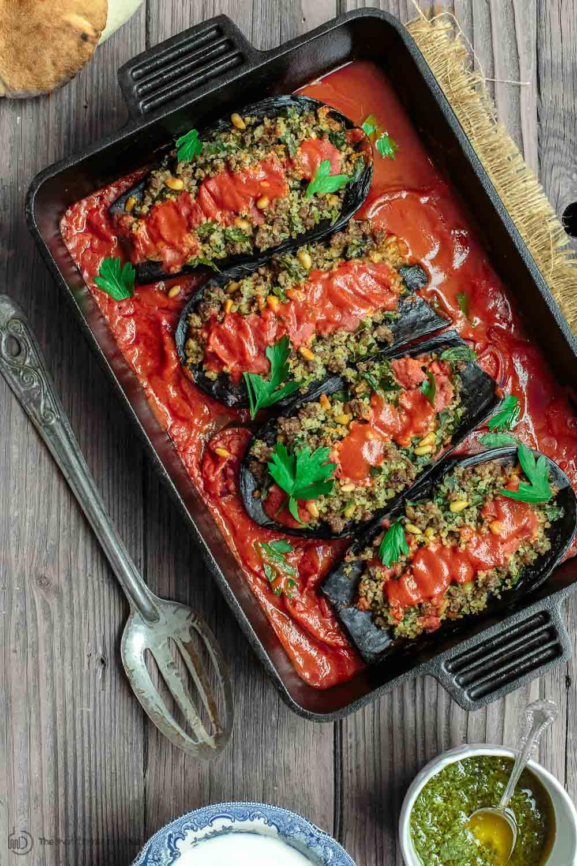 Receita de berinjela recheada com carne moída no Forno
