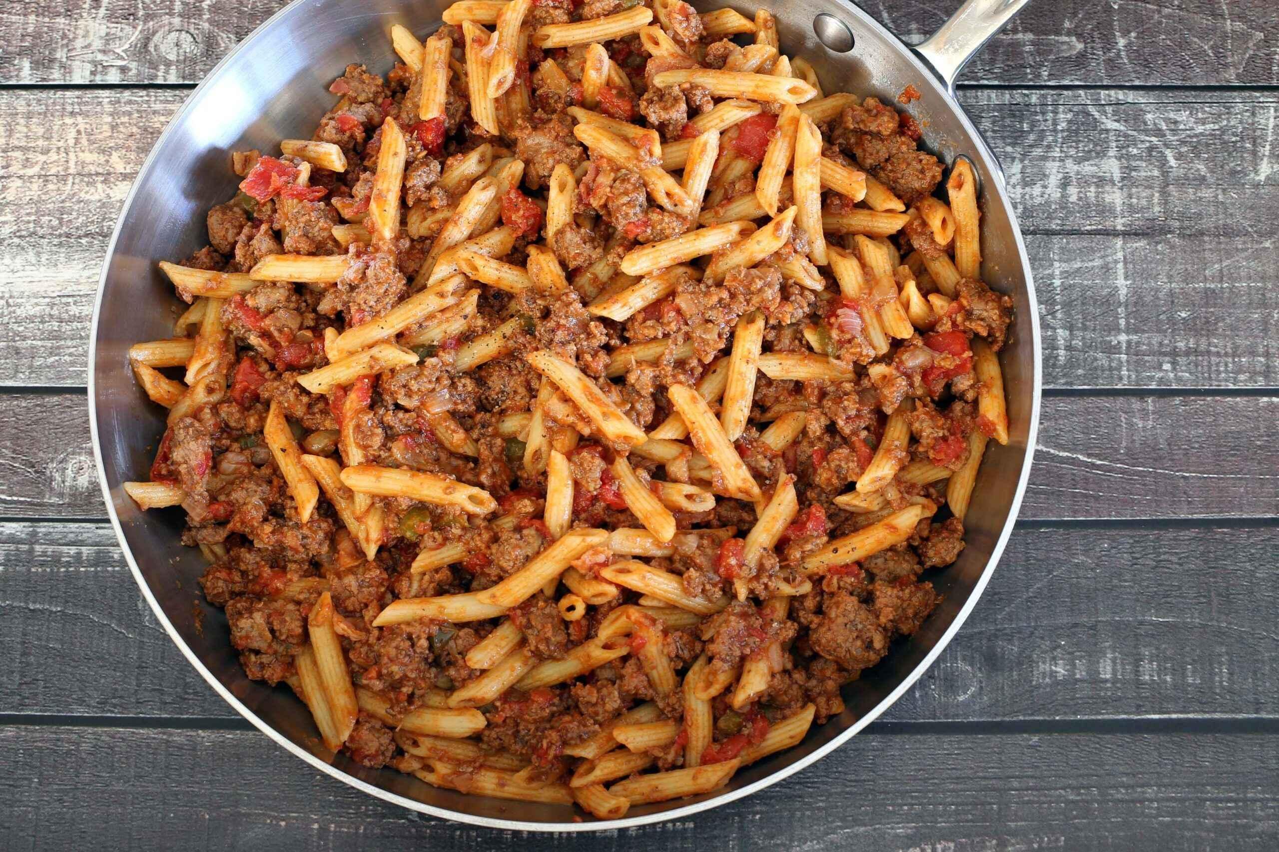 Janta rápida e Fácil de Carne Moída com Massa